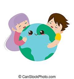 la terre, planète, étreindre, gosses