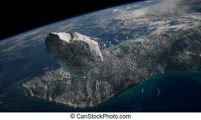 la terre, planète, approchant, astéroïde, dangereux