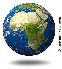la terre, planète, caractériser, afrique