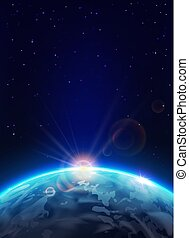la terre, planète, levers de soleil, soleil, étoiles, space.
