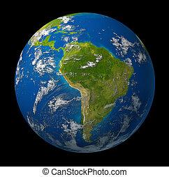 la terre, planète, projection, amérique sud