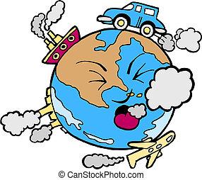 la terre, pollué