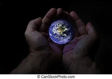 la terre, protéger, mains, globe, deux
