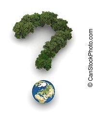 la terre, question, symbolique, arbres, marque