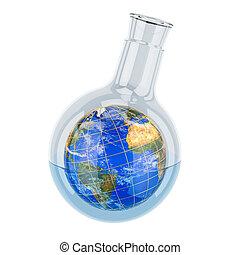 la terre, recherche, 3d, globe global, intérieur., concept., rendre, flacon, découverte