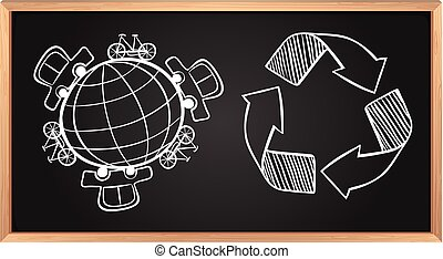 la terre, recyclage, transport, planche, signe