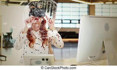 la terre, regarder, numérique, femme, virtuel, casque à écouteurs, réalité