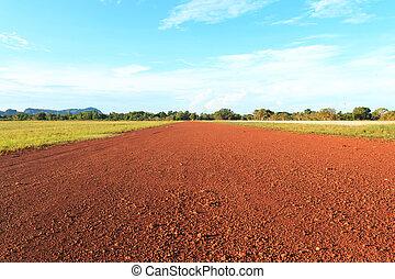 la terre, road., rouges
