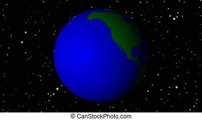 la terre, rotation, espace, planète