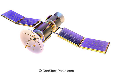 la terre, satellite, modèle, artificiel, 3d