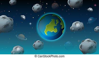 la terre, scène, espace