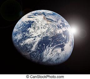 la terre, &, soleil