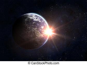 la terre, soleil levant