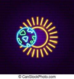 la terre, soleil, néon, étiquette