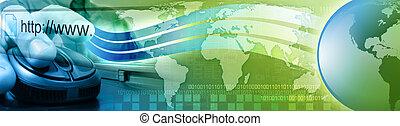 la terre, souris ordinateur, homme, internet
