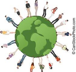 la terre, sur, globe, gens