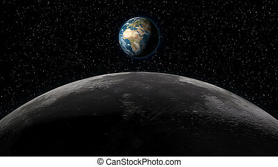 la terre, sur, levée, horizon, lune