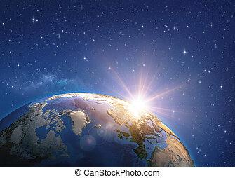 la terre, sur, levers de soleil, espace