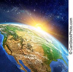 la terre, sur, levers de soleil