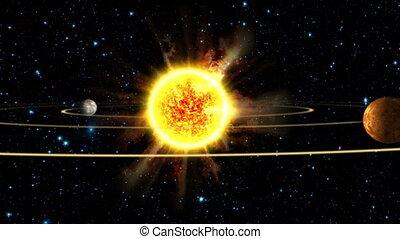 la terre, système, solaire