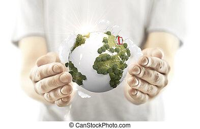 la terre, tenant mains