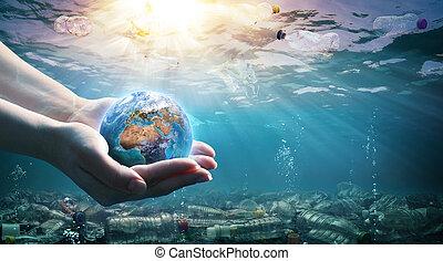 la terre, tenue, gaspillage, pollution-, mains, plastique, océan, environnement, -