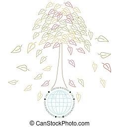 la terre, tres, concept, écologie