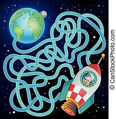 la terre, vaisseau spatial, 17, labyrinthe
