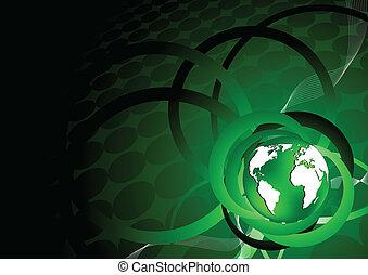 la terre, vecteur, arrière-plan vert