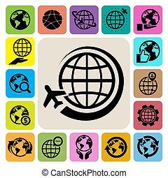 la terre, vecteur, ensemble, icônes