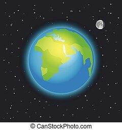 la terre, vecteur, espace illustration