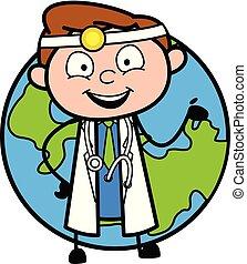 la terre, vecteur, heureux, docteur