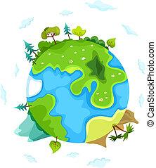 la terre, vecteur, illustration