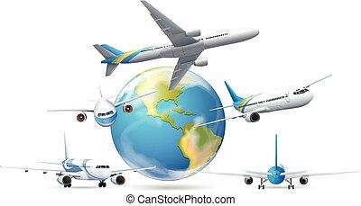 la terre, voler, avions, autour de