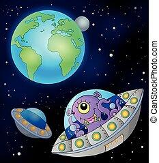 la terre, voler, soucoupes