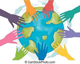 la terre, volontaires, mains