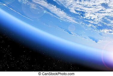 la terre, vue, espace