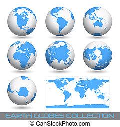 la terre, white-blue, globes