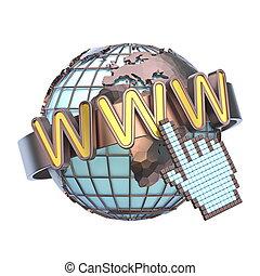 la terre, www, concept, globe, 3d