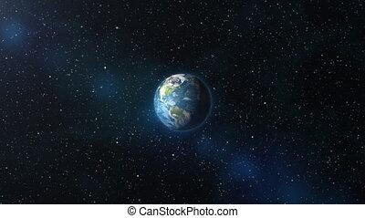 la terre, zoom, espace, extérieur