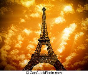 la torre eiffel, en, parís