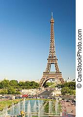la torre eiffel, vistos, de, trocadero