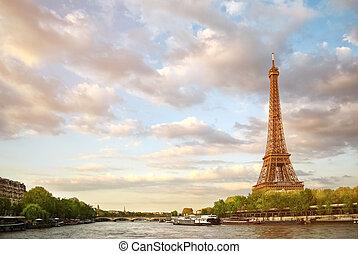la torre eiffel, y, el, río sena, en, cielo de puesta de sol, plano de fondo, en, parís