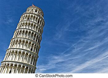 la torre se inclinando de pisa, en, italy.