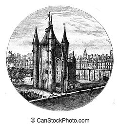 La Tour du Temple in Paris, drawing of the eighteenth...