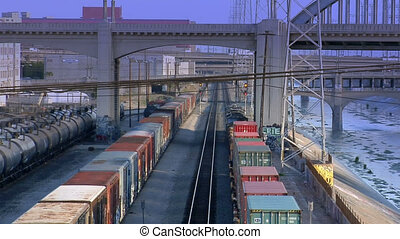 LA Train by river 2 - A nice high angle perspective shot of...