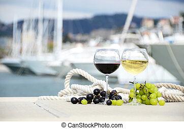 la, yate, spezia, italia, uvas, muelle, copas