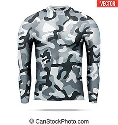 laag, hemd mouw, lang, camouflage, onder, style.,...