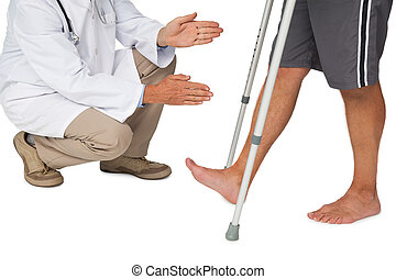 laag onderdeel, van, een, arts, met, hogere mens, gebruik, walker