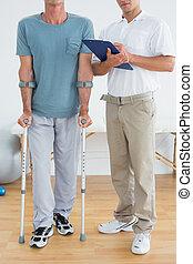 laag onderdeel, van, een, therapist, en, invalide, patiënt, met, rapporten